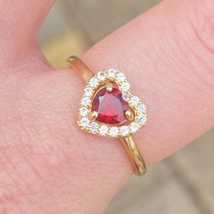 Solid 10k yellow gold garnet/topaz ring